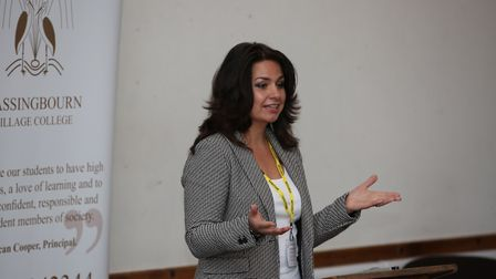 Conservative candidate Heidi Allen speaks to years 10 and 11 at the hustings event at Bassingbourn V
