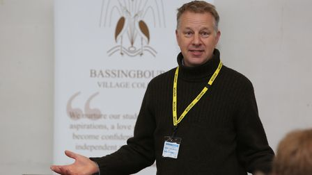 Green Party candidate Simon Saggers speaks to year 10 and 11 pupils at the hustings event at Bassing