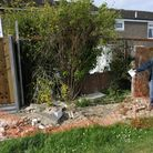 Peter Horner's garden wall collapsed onto the pavement in Duck Lane, St Neots.