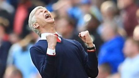 Arsenal manager Arsene Wenger celebrates after the FA Cup semi-final win over Manchester City (pic: