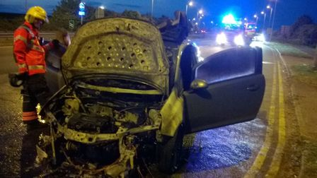 Firefighters attended car fire on A1 southbound