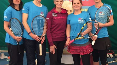 Judy Murray with members from Harpenden Lawn Tennis Club.
