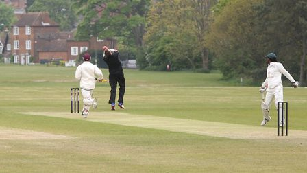 Harpeden's Billy May takes a caught and bowled to dismiss Letchworth's Andy Jenkins.Picture: MELIS