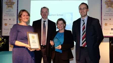 School of the Year Secondary winners Beaumont School with Kingston Smith manager Simon Cunningham