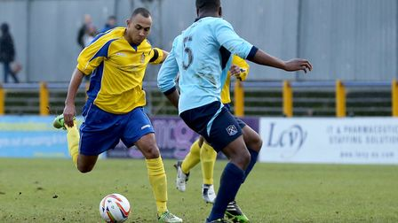 Harold Joseph, seen in action against St Albans City, is the first of the summer signings at Clarenc