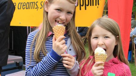 Lizzy and Sophie Clark from Newsells enjoying the day. Picture: Clive Porter