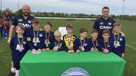 St Ives Rangers Under 8 White are, with coaches Martyn Kelsey and Wayne Swales, Tyler Kennedy, Aston