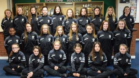 The St Ivo School Under 13 and Under 14 squads ahead of their national finals next week, in tracksui