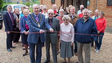 Bury residents with Huntingdonshire District Council chairman Councillor Peter Bucknell and John Rig