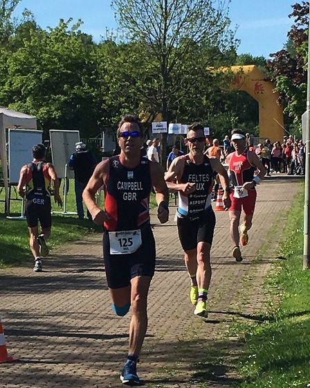 Max Campbell represented GB at the European Mid-distance Duathlon in Germany. Picture: CHERRY CAMPBE