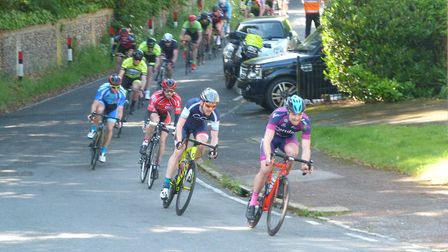 Verulam ReallyMoving's Clay Davies leads the field at the Finchley RT road race.