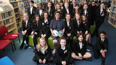 Author Nicky Singer with years 7, 8 and 9 pupils at Beaumont School. Picture: Danny Loo