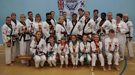 Huntingdon & St Ives Tang Soo Do members are, back row, left to right, Betony Bennett, Tracey Digby,