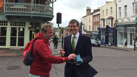 Green Party PPC Jack Easton and air quality expert Keith Cotton measuring at the Peahen Junction