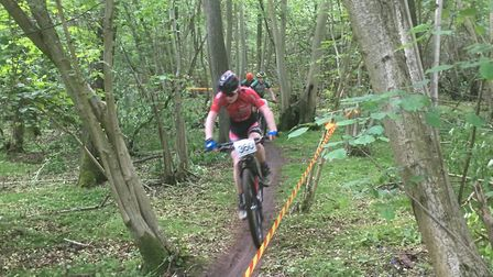 Sam Trotter of St Ives CC on his way to a second place at the Regional Mountain Biking Championships