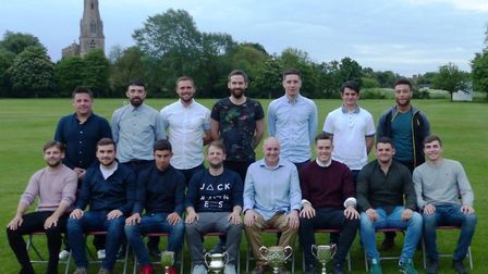 Members of the Alconbury team who have won four Sunday morning trophies are, back row, left to right