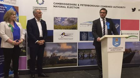 James Palmer speaks for the first time as Mayor of Cambridgeshire and Peterborough. Also pictured is