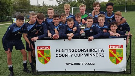 St Neots Town Under 16s celebrate their Hunts Cup success.