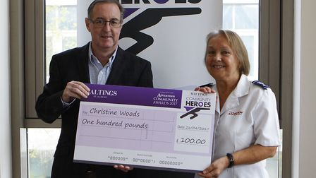 The Maltings Community Heroes Presentation - Phil Corrigan (Maltings Centre Manager) presents a cheq