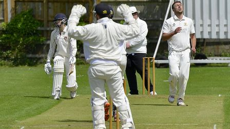 It's a near-miss for Ramsey bowler Elliot Cafferkey at Waresley. Picture: DUNCAN LAMONT