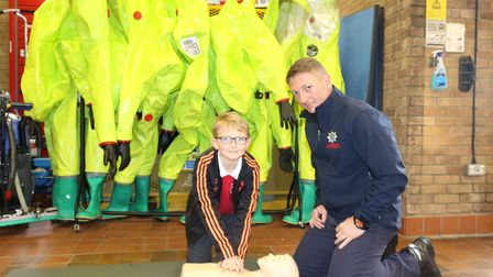 St Neots firefighter Paul Davies with son Hayden