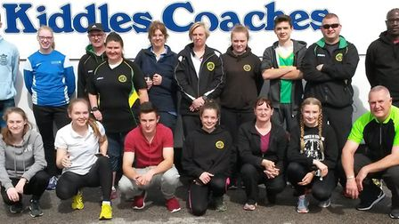 The Hunts AC squad who took part in the latest Southern Athletics League fixture are, back row, left