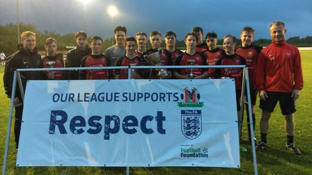 Warboys Under 15s celebrate winning the Hunts Youth League Cup.