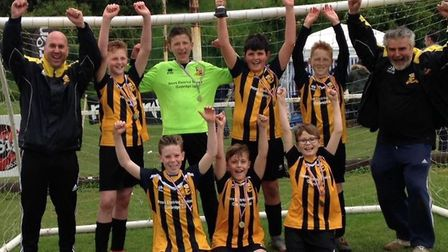 The winning Somersham Under 12 team are, back row, Barry Cleet (coach), Stanley Peters, Joshua Prior