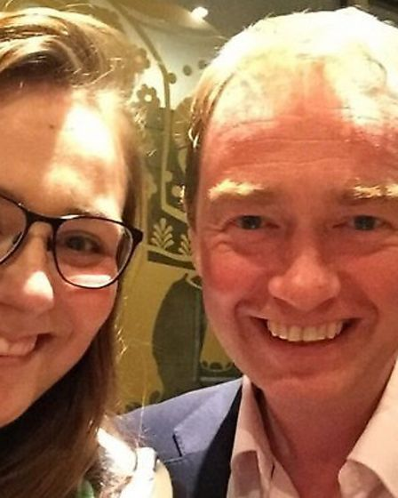 Emily Price with Tim Farron, Liberal Democrat party leader.