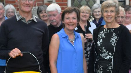 Music marathon organisers David and Hilary Marsh, with Jacquie McBride, centre, and Orwell Singers.