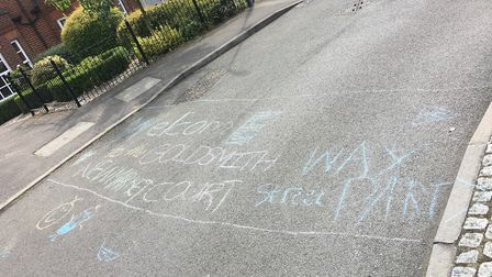 Signs marking out Goldsmith Way street party