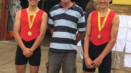 Sam Hasted and Rory Crouch with coach Paul Ashmore.