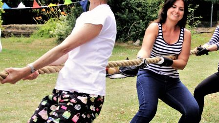 County councillor Susan van de Ven and MP Heidi Allen taking part in the tug-of-war. Picture: Clive