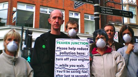 Green Party councillor Simon Grover and Green Party members at the Peahen junction in 2014