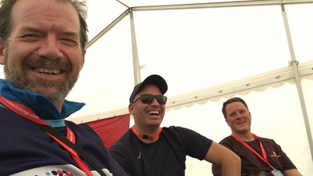 Neil and Luke Rigby with Peter Mumford on the London to Cambridge challenge last year.