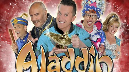 Aladdin cast poster for this year's St Albans pantomime at The Alban Arena