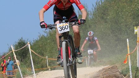 Sam Trotter of St Ives Cycling Club in action at Phoenix Bike Park.