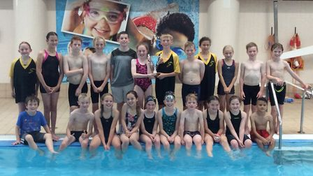 First Strokes swimmers celebrate their gala success in Peterborough.