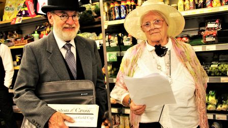 Hugh Pollock with Yvonne Chamberlain at the reinactment at Premier Stores. Picture: Clive Porter