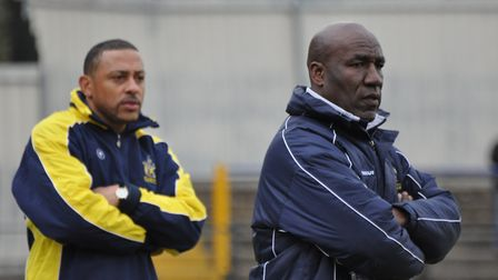 Ken Charlery, left, was coach at St Albans City under manager David Howell. Picture: DAVID HARRIS
