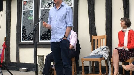 Simon Saggers putting his points across at the South Cambs hustings event.