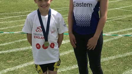 Liam Conway and Beatrice Pauley at the Walden Junior Triathlon.