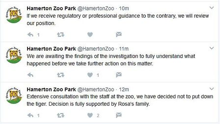 The tweets posted by staff at Hamerton Zoo