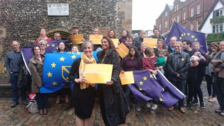 Daisy Cooper and Gina Miller outside the Clock Tower with members of St Albans for Europe.