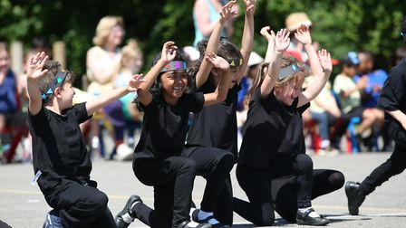 Margaret Wix School year one pupils perform a South African dance called the Waka Waka for the Inter