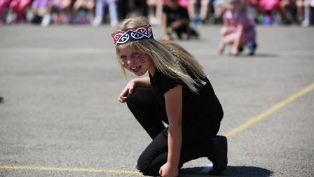 Margaret Wix School year two pupils perform a dance from New Zealand called the Haka for the Interna