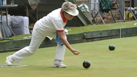 Val Corn skipped a successful rink in Hunts' victory against Northants in the Donald Steward Trophy.