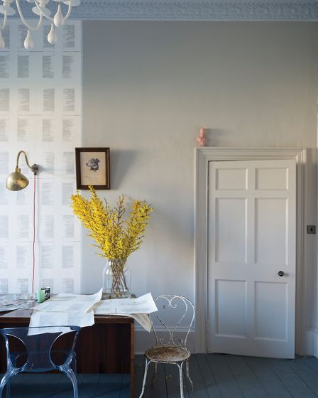 The Purbeck Stone Estate Eggshell paint in action, available from www.farrow-ball.com [Credit: PA Ph
