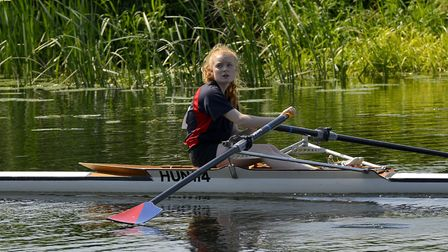 Ellie Nicholls, of Huntingdon Boat Club, in action at St Ives.