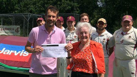 HAD's Paul Bishop receives the sponsorship money from Lady Ann Parkinson from the Jarvis Charitable